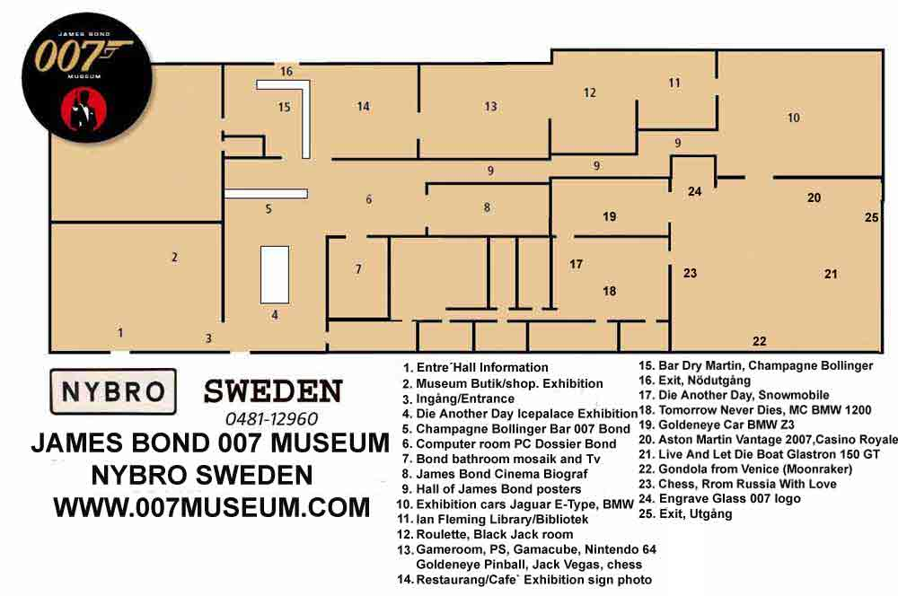 Booking! Call or emejl +46(0)48112960 ,� 007museum@telia.com MAP OVER THE JAMES BOND 007 MUSEUM IN SWEDEN NYBRO over 1000 square meter