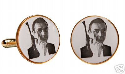James Bond Cufflinks Sean Connery with PPK gun