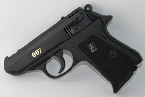 """Walther PPK. 7.65 mm, with a delivery like a brick through a plate glass window. Takes a Brausch silencer with very little reduction in muzzle velocity. The American CIA swear by them."""