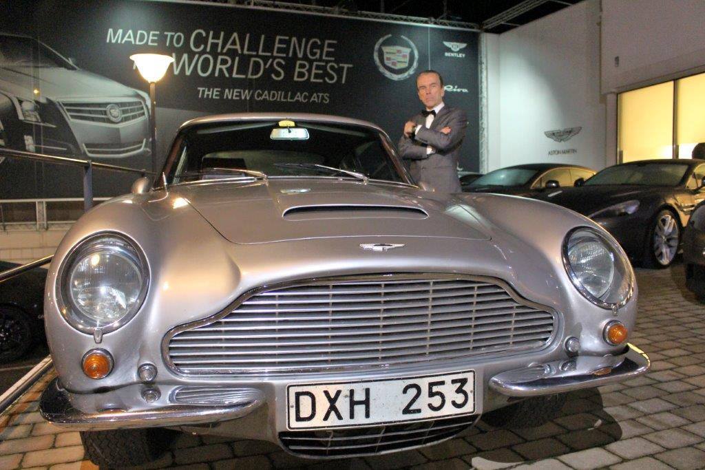 Aston Martin DB5 with James Bond Gunnar Schäfer from James Bond 007 Museum in Nybro Sweden