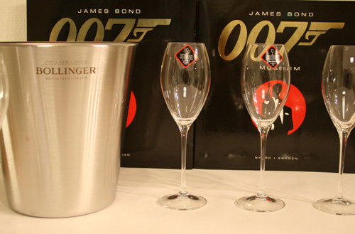 Bollinger Champagne cooler and champagne glasses