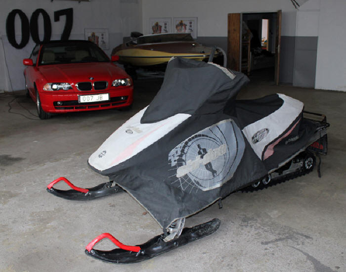 Bombardier Ski-Doo snowmobile featured in new James Bond film, Die Another Day. Now in The James Bond museum Nybro Sweden