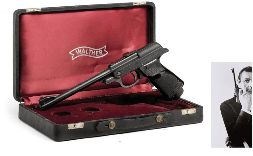 Walther LP53 air pistol held by Sean Connery as James Bond advertising campaign for the 1963 From Russia With Love